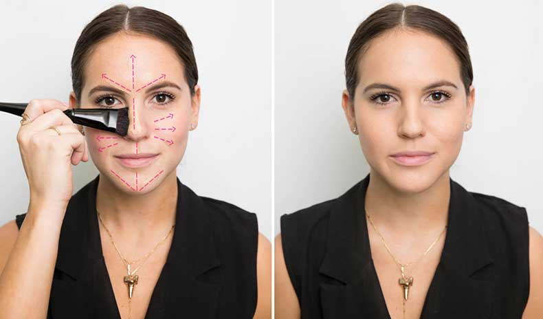 Apply Foundation At The Center Of Your Face.